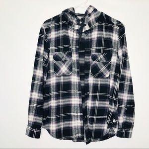 GARAGE- Plaid hoodie long sleeve top sweater
